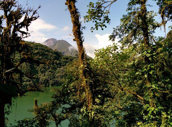Cerro Chato laguna and Arenal volcano