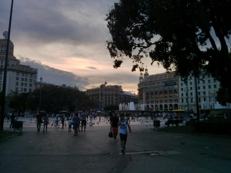 Evening at Place de Catalunya