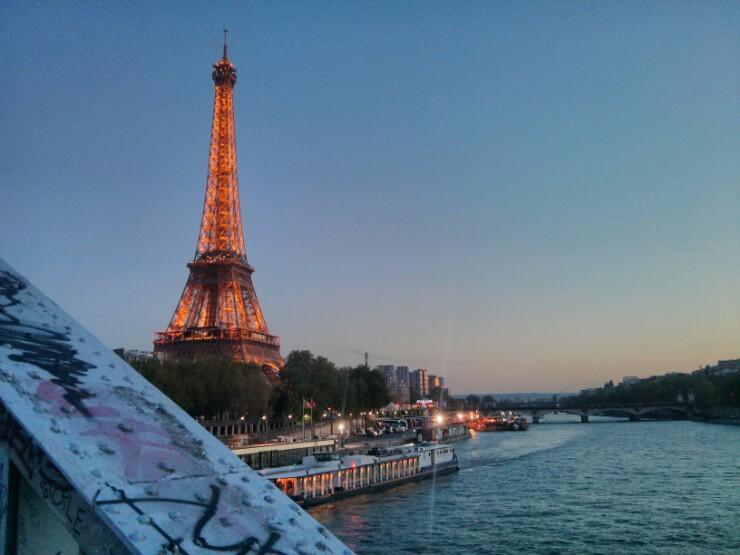 Eiffel Tower in spring evening